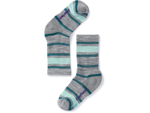 Smartwool Striped Hike Light Crew Socks Kids light gray/mint